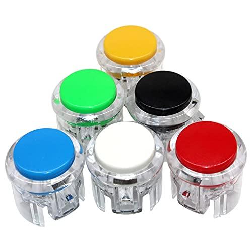 LJLWX Joystick móvil de Juego Botón de Arcade de 30 mm Incorporado Micro Reemplazar Juego Interruptor de Juego Pulsador Transparente Muti-Colors Adecuado para la mayoría de Las Pantallas táctiles