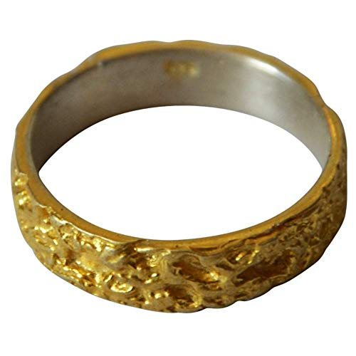 Damen Herren Ring Silberringe Fingerringe Bandring Eheringe Trauringe aus 925 Sterlingsilber vergoldet gold Krater Oberfläche 5 mm Ring Größen 50 bis 60