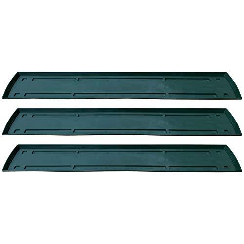 3 Untersetzer für Blumenkasten Set Balkonkasten Pflanzkasten Grün 80cm