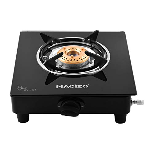 MACIZO Imperium Brass Burner Manual Glass Gas Stove (1 Burner)
