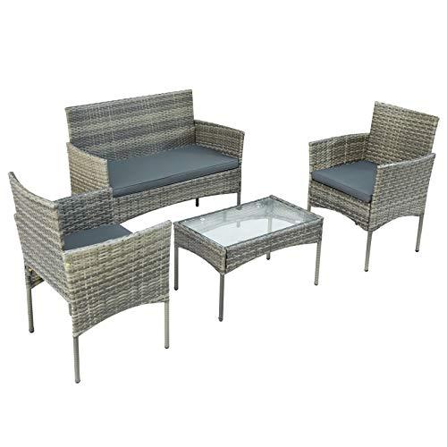 Takefuns Juego de muebles de poliratán para 4 personas, sofá y Tisch, incl. Sitzkissen für Garten Balkon & Terrasse, Grau