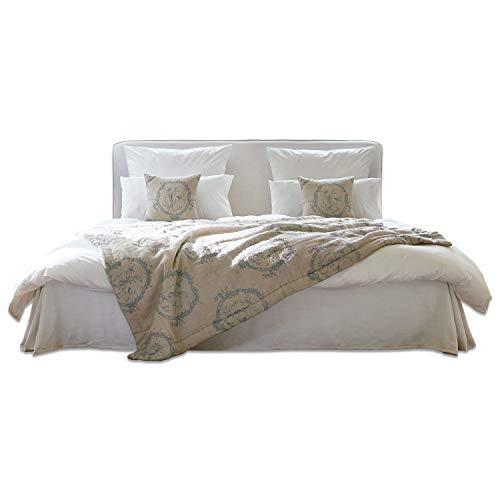 Loberon bed Aubrianne, eikenhout/katoen, H/B/D ca. 106/220 / 200 cm, wit