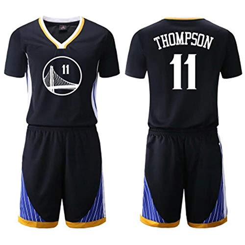 ZSPSHOP NBA-Basketball-Kleidung Anzug männlich Golden State Warriors schwarz Trikot Nr 30 Curry, No. 35 Durant, 11 Thompson, Grün Nr 23 (Color : Black sleeve11, Size : S)