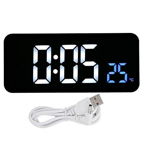 Seacanl Reloj de cabecera, Reloj Despertador Digital Multifuncional con Control por Voz, Escritorio para Dormir Pesados, Dormitorio de cabecera para niños