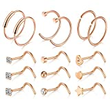 15 Pièces 20G Acier Chirurgical Piercing Nez Anneaux Vis Piercing Faux Piercing Lèvre Femme Homme Piercing Bijoux - Or rosa