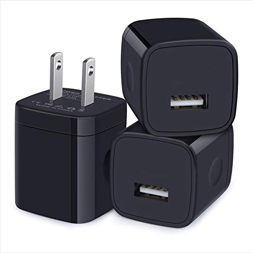 Charger Block, 3-Pack USB Wall Charger 1A/5V USB Charger Plug Single Port Charging Cube Box for iPhone SE, 11 Pro Max, XR/Xs/X, 8/7/6/6S Plus, iPad, Samsung Galaxy S20 Plus,A10e, A20, LG, Pixel, Moto