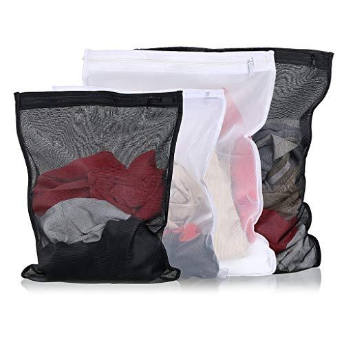 Wasserij Delicate Tas Lingerie Waszak voor Sokken Panty's Kousen, Zwart en Wit Set van 4