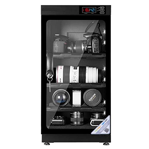 INTBUYING 50L 4 Layers Camera Lens Dehumidifying Dry Cabinet Digital Control Dry Box Noiseless Energy Saving Storage for Camera Lens Electronic Equipment Storage