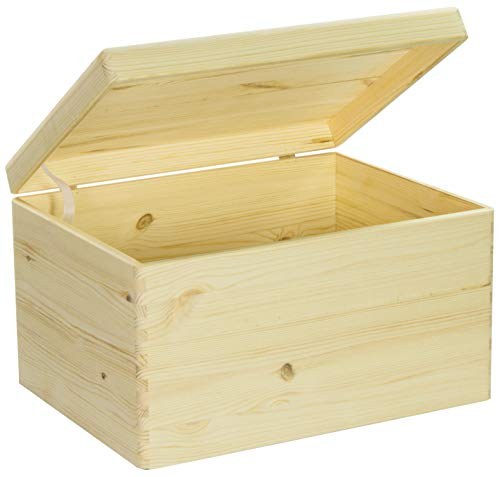 LAUBLUST Große Holzkiste mit Deckel - 40x30x24cm, Natur, FSC® | Allzweck-Kiste aus Holz - Aufbewahrungskiste | Geschenk-Verpackung | Deko-Kasten zum Basteln | Spielzeug-Truhe | Erinnerungsbox