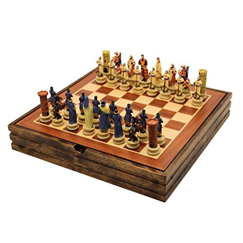 YBYB Juego de ajedrez de madera maciza de ajedrez con tema de la guerra civil, juego de ajedrez de resina, juego de mesa temático de ajedrez de lujo (tamaño: 36,5 cm)