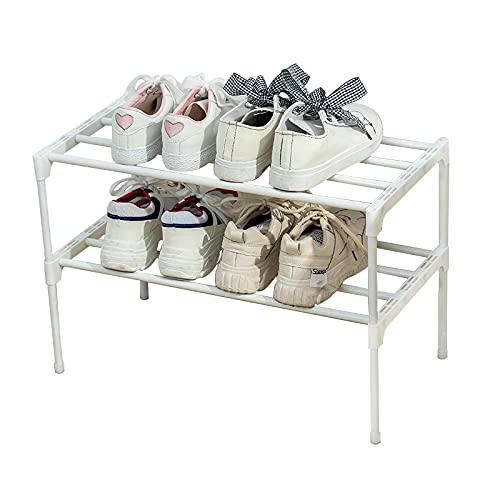 LUCKY OCEAN Scarpiera a 2 strati, piccola, può contenere 6 paia di scarpe, scarpiera con rivestimento antiruggine, adatto per dormitori, case in affitto, balcone, 56 x 28 x 36 cm (bianco)