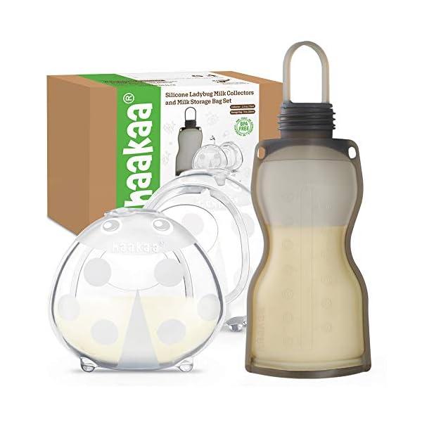 Haakaa Silicone Breast Shells and Breastmilk Storage Bag Combo for Breastfeeding...