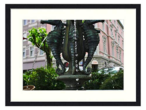 OiArt Wall Art Print Wood Framed Home Decor Picture Artwork(24x16 inch) - Fountain Seahorse Architecture Decoration Water