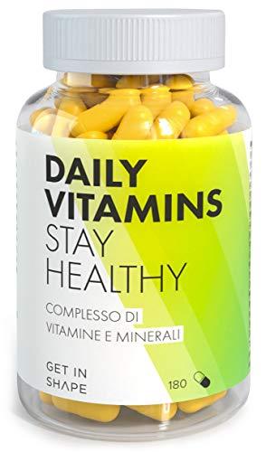 DAILY VITAMINS - Integratore multivitaminico e mulitiminerale vegano, 180 capsule - dose giornaliera di vitamine e minerali essenziali - da Get In Shape