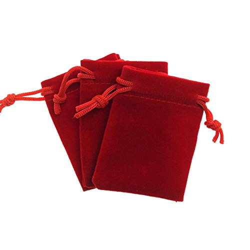 12 Pieces 1.97' x 2.75' (5 x 7cm) Small Velvet Cloth Jewelry Drawstring Bags Velvet Jewelry Pouches Candy Gift Bag for Jewelry Candy Small Gifts Christmas Wedding Party Birthday, Red