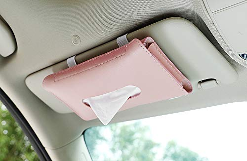 Simplux Car Visor Tissue Holder, Sun Visor Napkin Holder Car Visor Tissue Holder PU Leather Premium Car Vehicle Tissue Box Backseat Tissue Case, Tissue Case for Car (Pink)