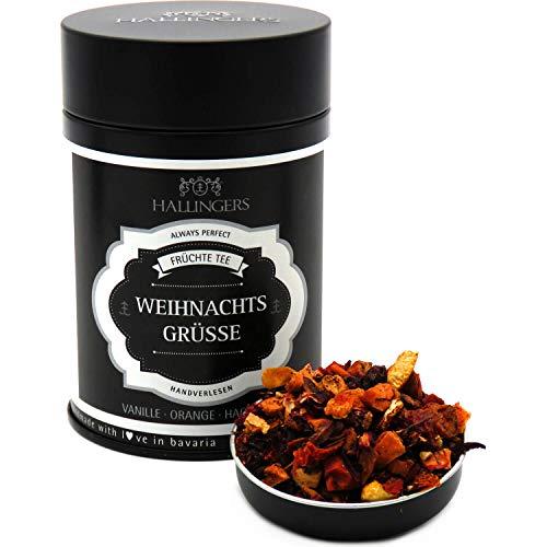 Hallingers Loser Früchte-Tee mit Vanille Orange & Hagebutte (120g) - Weihnachtsgrüße (Premiumdose) - zu Weihnachten ideal als Geschenk