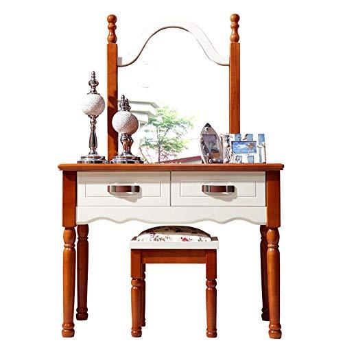 LULUVicky Schminktisch Retro Makeup Tisch Schlafzimmer Kosmetiktisch mit Mehreren Schubladenkästen Schminkspiegel Schlafzimmer-Satz-Verfassungs-Kosmetik Dresser Möbel (Color : Brown, Size : 75x100cm)