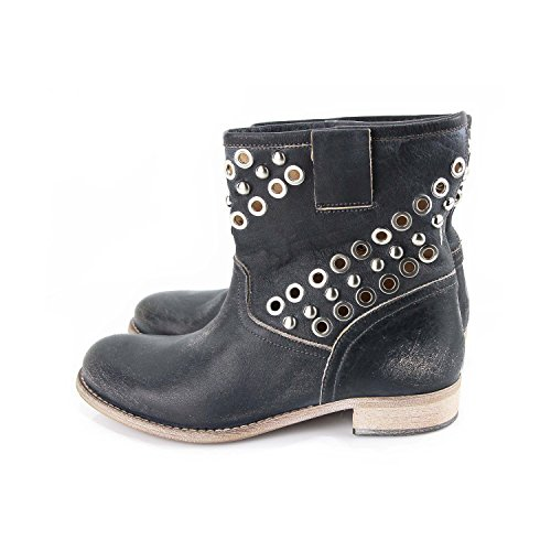 Ovye by Cristina Lucchi Echtleder Stiefel Stiefeletten Schuhe Ankle Boots in Used Look Brushed Biker Cowboy Nieten Hand Made in Italy (36)