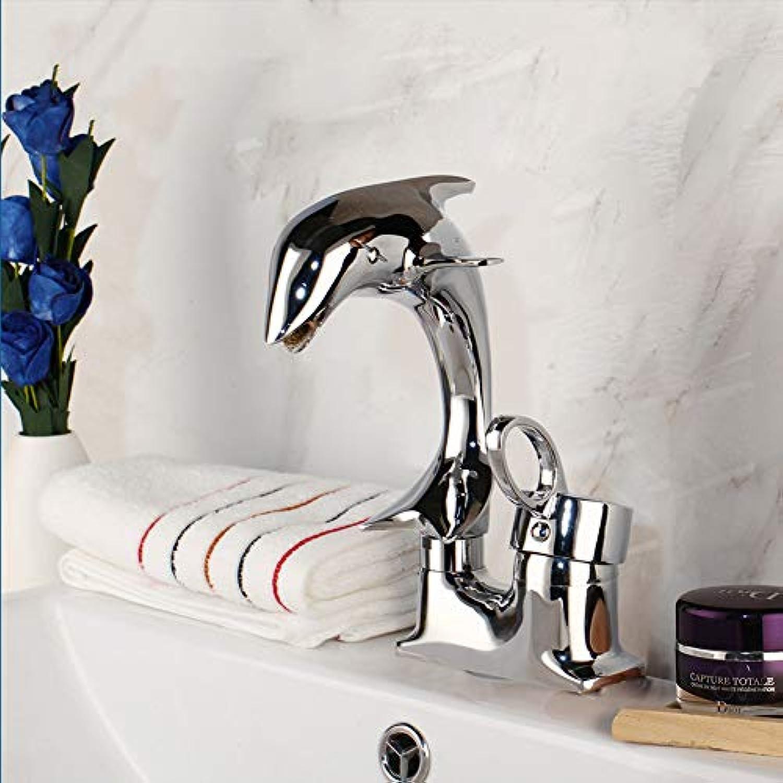 Dolphin Style Einhand-Waschtischarmatur, Verchromt, Bad-Zweigriffmischer Mit Warm- Und Kaltwasserhahn
