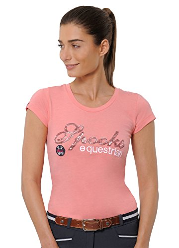 SPOOKS T Shirt für Damen Mädchen Kinder, tailliert Sommer Tshirt mit Aufdruck aus Frotee - bequem & stylisch Roxie Sequin - Pink Icing XL