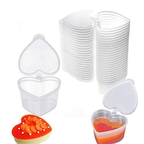 Slime Containers, 20 Pcs 45 ml Contenedor transparente en forma de corazón, Contenedor de Limo de Plástico con Tapa Slime Storage Containers, para 20 g de bola de Espuma de Arcilla limo