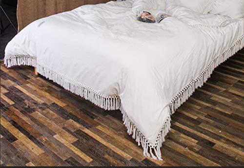 Capa de travesseiro de algodão puro com borlas para cama Twin Queen King 2 cores capa de edredom capa de almofada, Marfim, king size duvet cover, 1