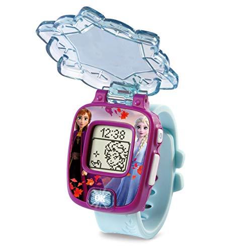 VTech - Frozen II, Anna & Elsa, orologio magico educativo con diversi giochi, coperchio protettivo e display con animazioni dei personaggi Elsa, Anna e Olaf, colore blu (80-518822)