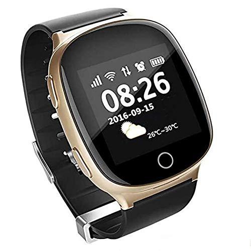 OOFAY GPS Smart Watch, Intelligente Uhr, LCD-Touch-Screen-Sport-Uhr Mit Herzfrequenz Schlaf-Monitor Wetter SOS Fitness Trackers Support-Informationen Erinnerung,Gold