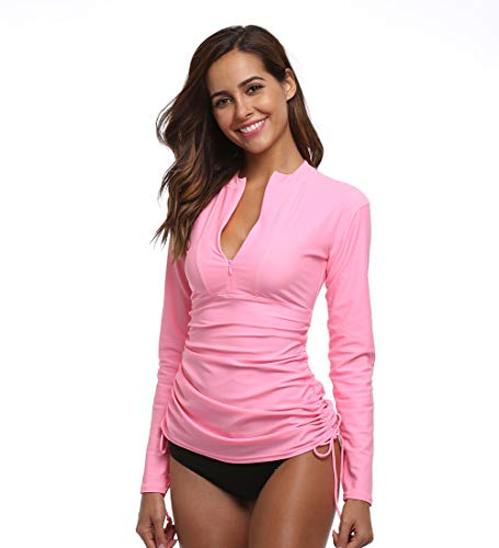 Women's Long Sleeve Rash Guard Wetsuit Swimsuit Top UV Sun Protection (901 M, Pink)