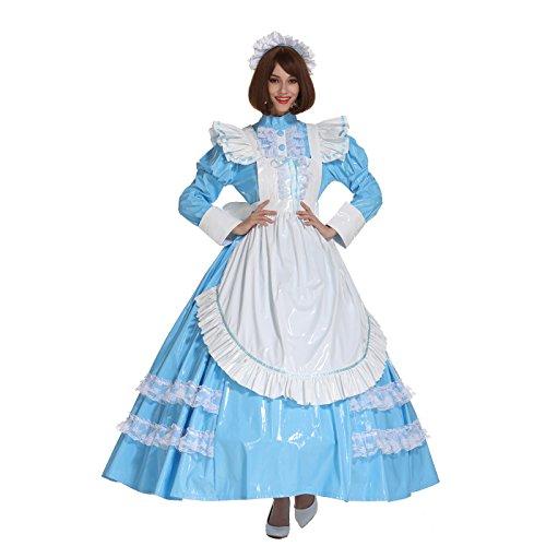 GOceBaby Sissy Mädchen Französisches Abschließbares PVC Baby Blau Langes Kleid Crossdress (XXL)