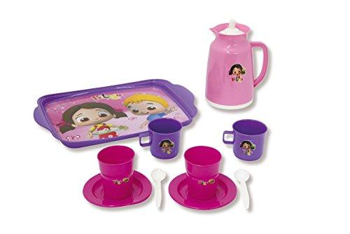 Jamara 460273 Spielset Niloyas Teeparty – Rollenspiel, Stabiles Kunststoffgeschirr bestehend aus Serviertablett, Teekanne, Becher, Tassen, Teller, 2X Löffel