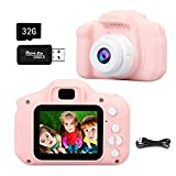 Flysee Cámara Digital para Niños, 1080P 2.0' HD Selfie Video Cámara Infantil, Regalos Ideales para Niños Niñas de 3-10 Años, con Tarjeta TF 32 GB, Lector de Tarjetas (Rosa)