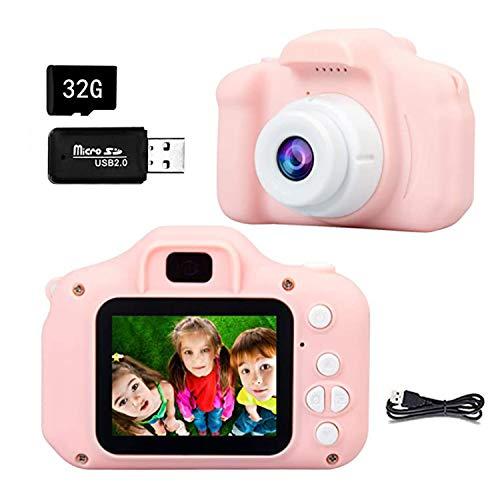 Ventdest Cámara Digital para Niños, 1080P 2.0' HD Selfie Video Cámara Infantil, Regalos Ideales para Niños Niñas de 3-10 Años, con Tarjeta TF 32 GB, Lector de Tarjetas (Rosa)
