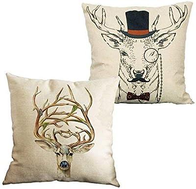 CHRISLZ 2 PZ Federa di Cotone e Lino Divano Home Decor Copertura del Cuscino Design Copricapo Testa di Cervo Tiro Federa (45x45 cm)(Deer)
