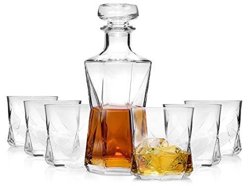 Bormioli Whisky Karaffe mit Gläsern 7 teilig | Whisky Set im modernen Design für Stilbewusste Geniesser | Füllmenge Dekanter 1.0 L | Füllmenge Gläser 330 ml