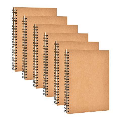 Cuadernos de papel Kraft de YOTINO 6 paquetes de cuadernos de bocetos A5, 80 g de papeles sin madera Libro de recortes de página en blanco, blocs de dibujo de portadas de Kraft