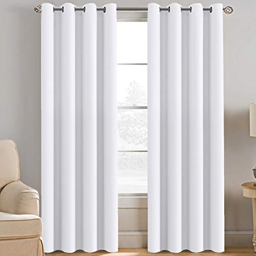 H.VERSAILTEX White Curtain 84 inches Long for Living Room Thermal Insulated Window Treatment Panel/Drape for Dining Room, Elegant Soft Durable White Curtain for Door - One Panel - Grommet Top