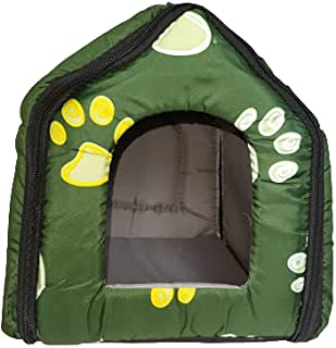 RvPaws Foldable Velvet Fabric Paw Print House/Hut for Dogs & Cats (Medium) (Colour May Vay)
