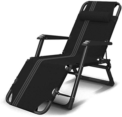 Sillas de jardín reclinable reclinable Gravedad Cero, Chaise Tumbona Plegable Cubierta Impermeable for Ligera en Patio al Aire Libre Playa Campamento, Negro, H013ZJ