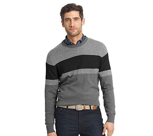 IZOD Men's Fine Gauge Crew Sweater, Deep Carbon Heather, Small