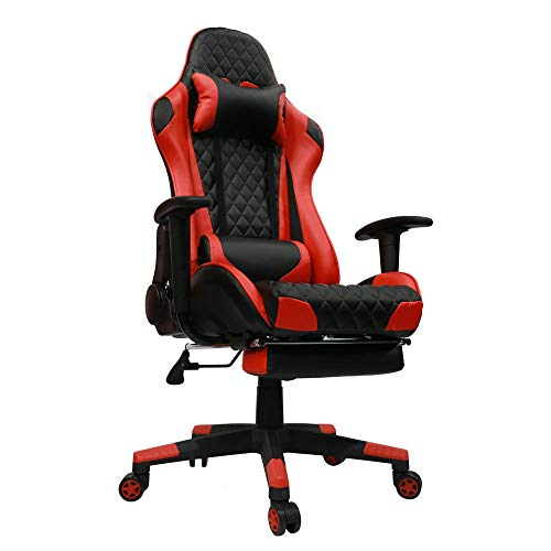 Kinsal Gaming Chair High-Back Computer Chair, Ergonomic Racing Chair, Leather Premium Lumbar Support Swivel Executive Office Chair Including Headrest and Massage Lumbar Pillow (red)