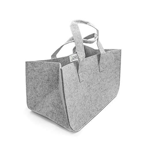 easyandgreen Kaminholztasche aus Filz für Holz, Zeitungen und Spielzeug, Einkaufstasche, Filzkorb mit Tragegriff (Hellgrau)