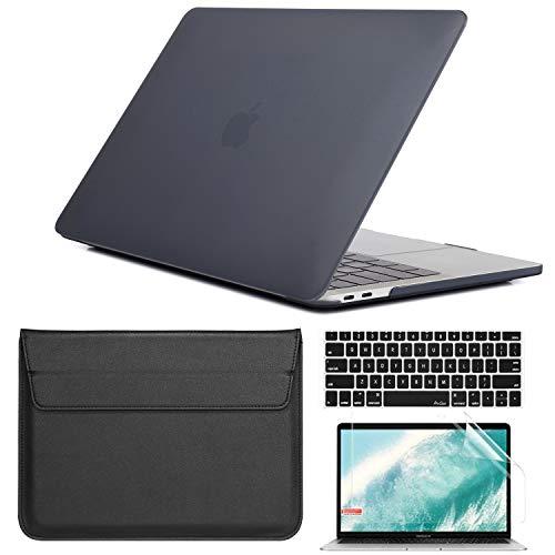 QYiD 4 in 1 Funda para MacBook Pro 13' Retina Display A1502 / A1425, Plastic Hard Shell Case Protectora Bolsa & Protector de Pantalla para Old MacBook Pro 13'(2012-2015 Release), Negro