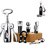 LYX Botella de vino Abrelatas de múltiples funciones doble Accesorios Caja de regalo Gift Set de barra del Manual de abridor de botellas de vino de acero inoxidable multifuncional (Color : Color1)