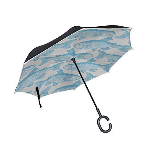 Double Layer Inverted Klappstuhl Regenschirm Niedlicher Fisch im Stil von Doodle Outdoor Klappschirm Reverse Umbrella Mit Koffer Winddichter UV-Schutz Für Regen Mit C-förmigem Griff