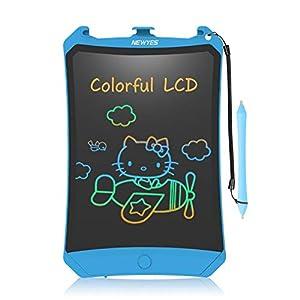 NEWYES Tableta de Escritura LCD 8,5 Pulgadas | Tablet para Dibujar para Niños. Colores Más Brillantes. Pizarra electrónica para Aprender a Leer, Escribir y Manualidades | (Azul) Trazos de Color