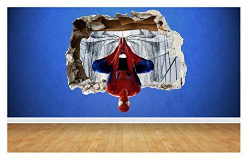 Spider Man 3D Aufkleber mit dem Effekt einer zerstörten Wand,Transfer-Art in Marvel Stil, Spiderman, multi, Large: 68cm x 58cm