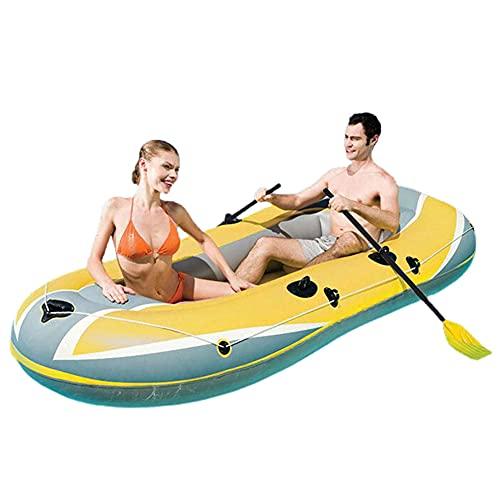 ZMMYD Bote Inflable para 3 Personas, Barco de Pesca Plegable de PVC Engrosado, Kayak a la Deriva, Adecuado para Viajes Familiares de Rafting al Aire Libre,Amarillo