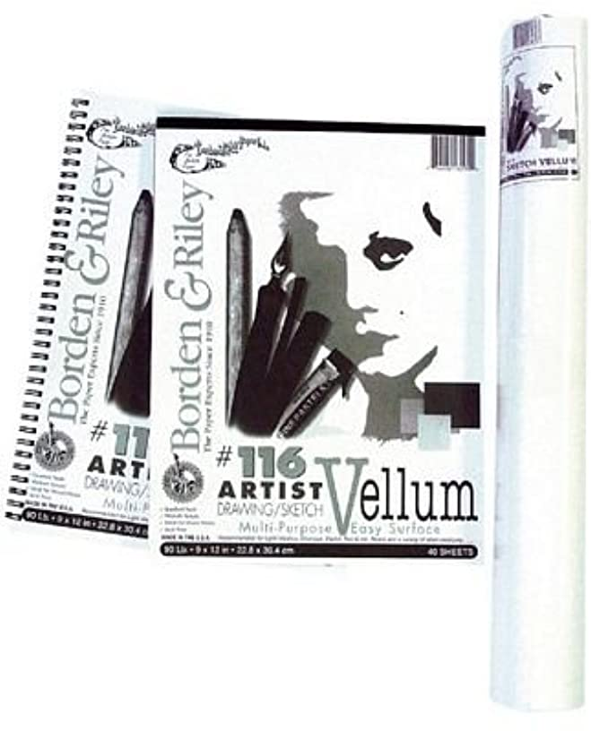 Borden & Riley #116 Artist Drawing/Sketch Vellum Pad, 11 x 14 Inches, 90 lb, 40 White Sheets, 1 Pad Each (116P111440)